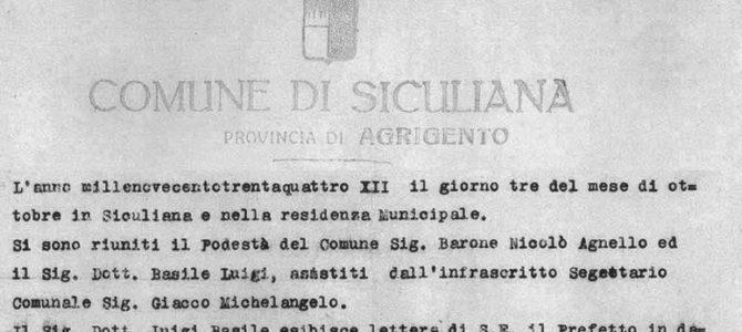Luigi Basile, verbale nomina a Podestà